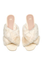 Faux fur mules - Natural white - Ladies | H&M CN 3