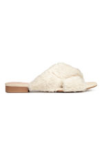 Faux fur mules - Natural white - Ladies | H&M 2