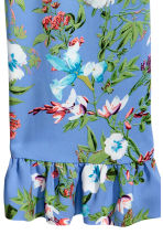 Wide frill-hemmed trousers - Blue/Floral - Ladies | H&M 3