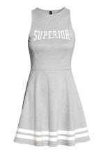 Sleeveless Jersey Dress - Grey marl/Text - Ladies | H&M CA 2