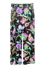 Wide trousers - Black/Floral - Ladies | H&M CN 2