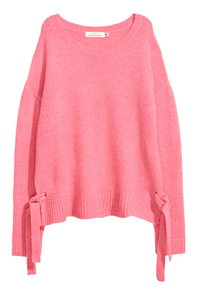 Knitted jumper with ties - Pink - Ladies | H&M GB
