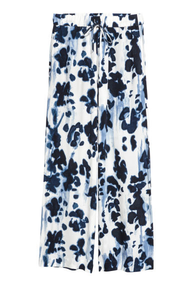 Wide trousers - White/Dark blue - Ladies | H&M GB