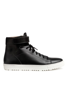 Leather hi-top trainers