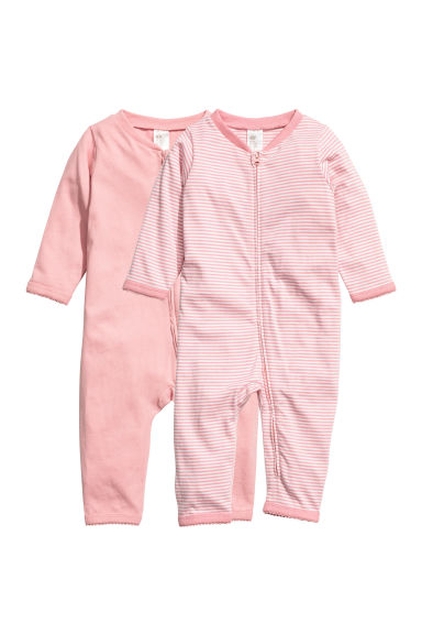 Pyjamas en jersey, lot de 2 - Rose clair/rayé -  | H&M FR