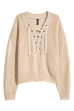 Knitted jumper with lacing - Light beige - Ladies | H&M 2