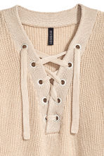 Knitted jumper with lacing - Light beige - Ladies | H&M 3