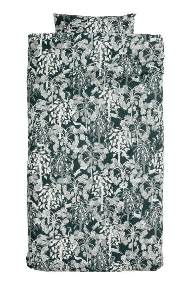 Patterned duvet cover set - Dark green/White - Home All | H&M CN