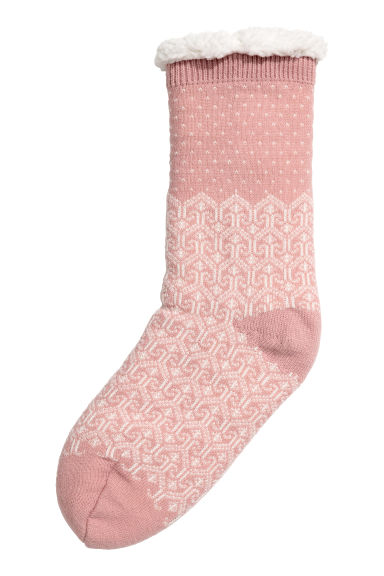 Pile-lined socks - Powder pink/Patterned - Ladies | H&M IE 1