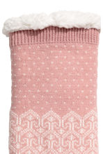 Pile-lined socks - Powder pink/Patterned - Ladies | H&M IE 2