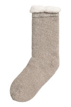 Pile-lined socks - Glittery gold-coloured - Ladies | H&M 1