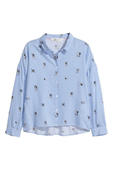 寬鬆款印花女衫 - Light blue/Striped -  | H&M 1