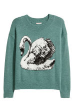H&M+ Knitted jumper - Turquoise/Swan - Ladies | H&M 1