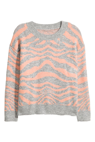 H&M+ Knitted jumper - Light grey/Pink - Ladies | H&M 1