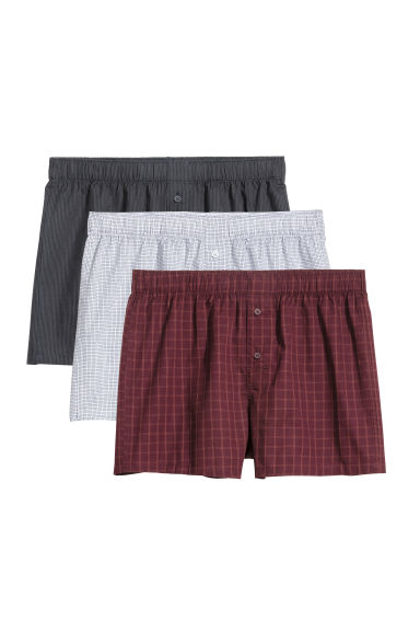 3-pack woven boxer shorts - Red/Checked -  | H&M CN