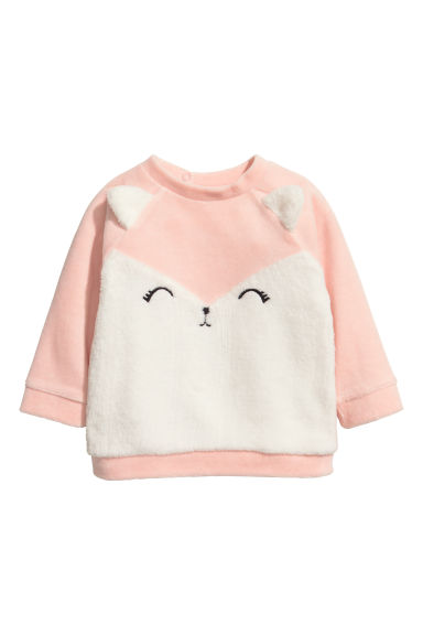 Velour sweatshirt - Light pink -  | H&M CN 1