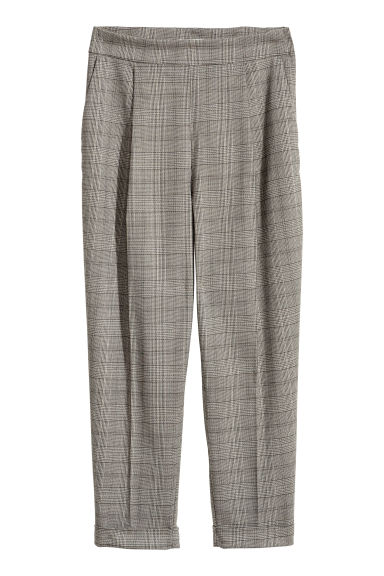 Wide trousers - Beige/Black patterned -  | H&M