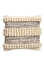 Cushion cover with pompoms - Natural white - Home All | H&M CN 1