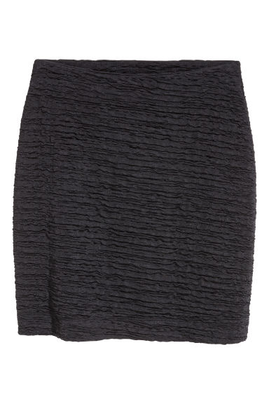 Crinkled jersey skirt - Black -  | H&M