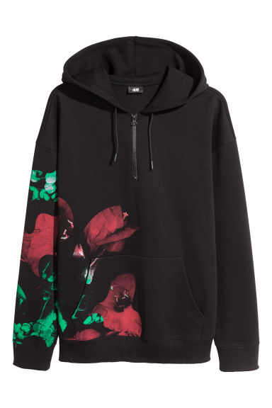 Hooded top with a zip - Black/Floral -  | H&M
