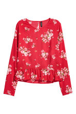 Blouse with a flounced hem - Red/Floral - Ladies | H&M 2
