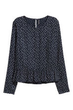 荷葉邊下襬女衫 - Dark blue/Hearts - Ladies | H&M 2