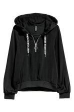 Satin hooded top - Black - Ladies | H&M 2