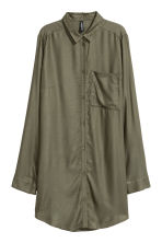 Long viscose shirt - Khaki green - Ladies | H&M CN 2