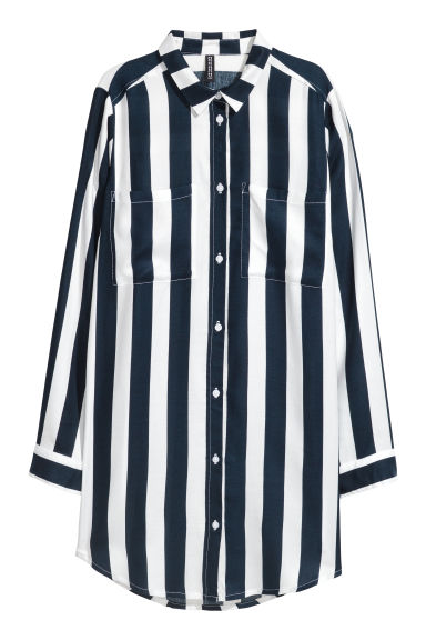 Long viscose shirt - Dark blue/White striped - Ladies | H&M IE