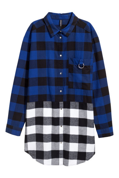 Long flannel shirt - Blue/White -  | H&M