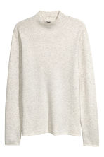 Fine-knit turtleneck jumper - White marl -  | H&M IE 2
