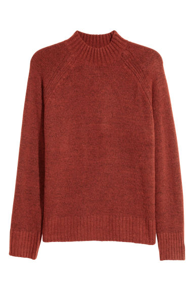 Knitted turtleneck jumper - Dark orange - Men | H&M IE