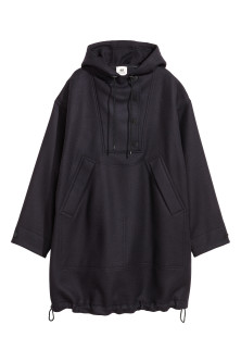 Long wool-blend anorak