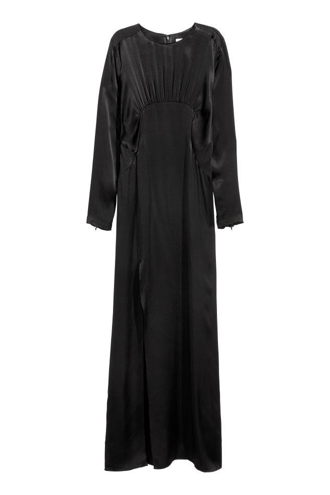 Langes Kleid mit Schlitz - Schwarz - DAMEN   H&M CH