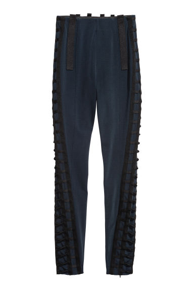 Ribbon-embroidered trousers - Dark blue - Ladies | H&M CN