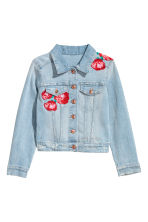 Embroidered Denim Jacket - Light denim blue/roses - Kids | H&M CA 2