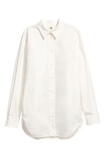 Cotton poplin shirt - Natural white - Ladies | H&M GB 2