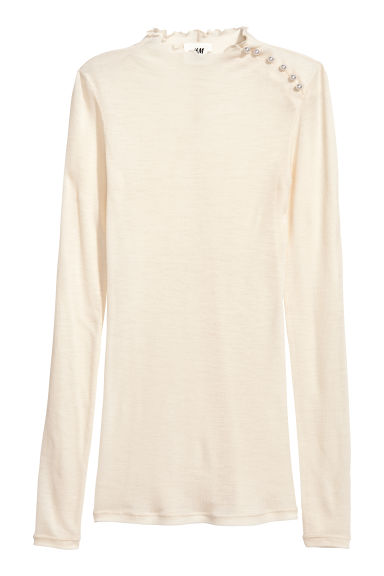 Wool jersey top - Natural white - Ladies | H&M