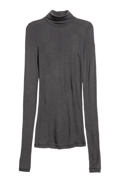 Wool jersey polo-neck top - Dark grey - Ladies | H&M