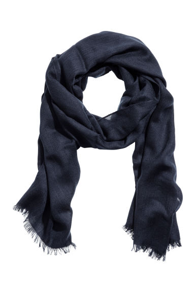 Airy wool-blend scarf - Dark blue - Men | H&M CN