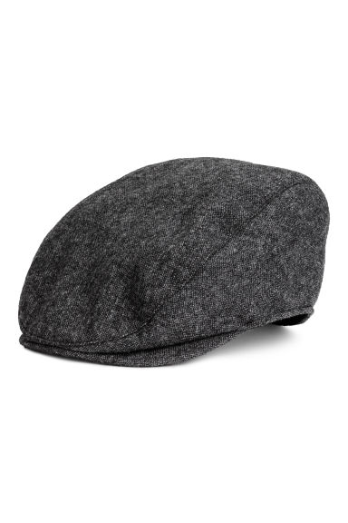 Wool-blend flat cap - Dark grey marl - Men | H&M