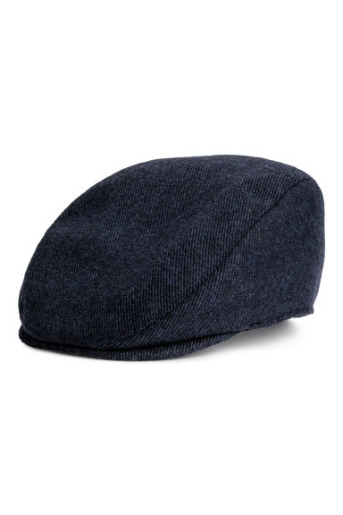 Wool-blend flat cap - Dark blue marl - Men | H&M GB 1