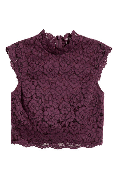 Lace top - Plum -  | H&M