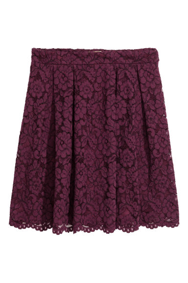 Short lace skirt - Plum - Ladies | H&M