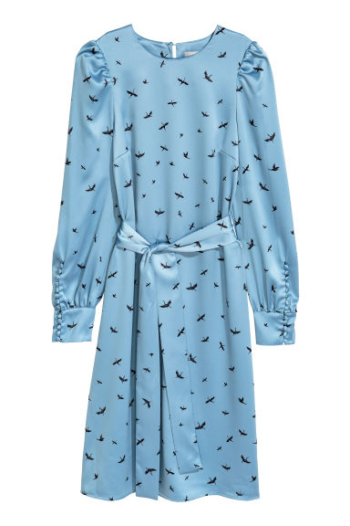 Patterned dress - Light blue/Birds - Ladies | H&M IE