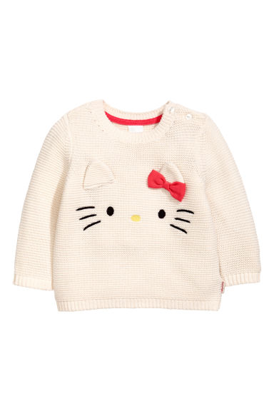 Garter-stitched jumper - Natural white/Hello Kitty -  | H&M 1