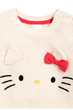 Garter-stitched jumper - Natural white/Hello Kitty -  | H&M 2