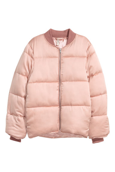 Padded satin jacket - Old rose -  | H&M