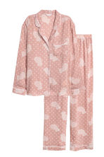Pyjama shirt and bottoms - Pink/Patterned - Ladies | H&M IE 2