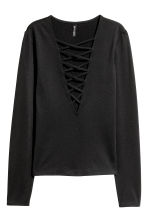 Top with lacing - Black - Ladies | H&M 2
